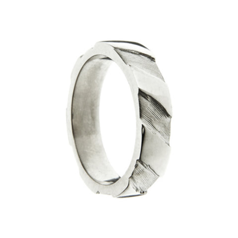 Striped 5mm Silver Ring