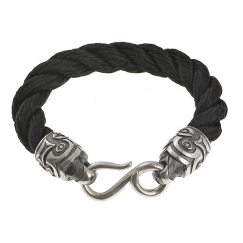 Hoye Division Black Hemp Rope Bracelet With Silver Tiki Ends