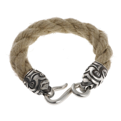 Hoye Division Heavy White Hemp Rope Bracelet With Silver Tiki Ends