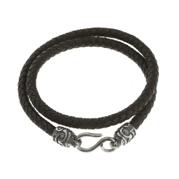 Hoye Division Brown Plaited Leather Wrap Bracelet With Silver Tiki Ends