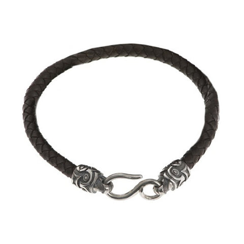 Plaited Leather Single Bracelet With Silver Tiki Ends