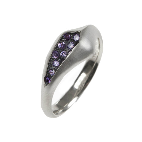 Triffid Silver Pavé Set Purple Cubic Zirconia Ring