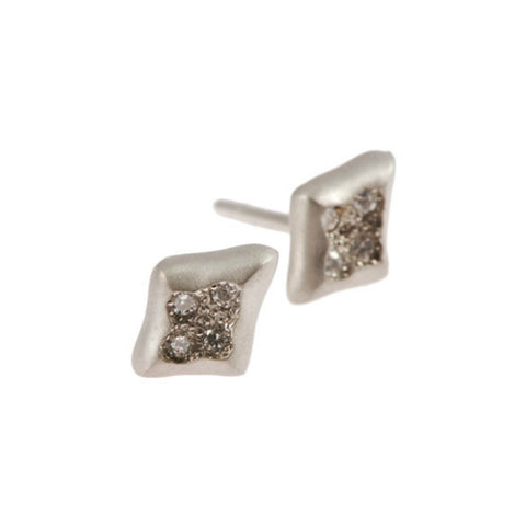 Triffid 18ct White Gold Diamond Ear Studs