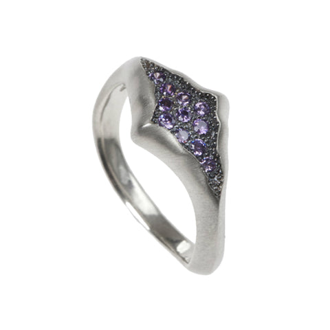 Triffid Silver Marquise Shape Pavé Set Purple Cubic Zirconia Ring