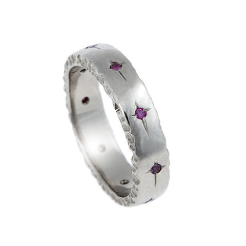 Trinity 18ct White Gold 5mm Ring with Pink Diamonds