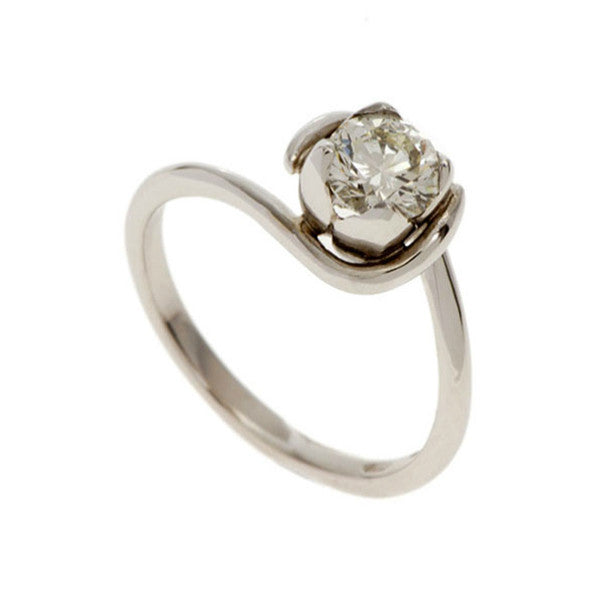 Tulip 18ct White Gold Solitaire with .40pt Diamond
