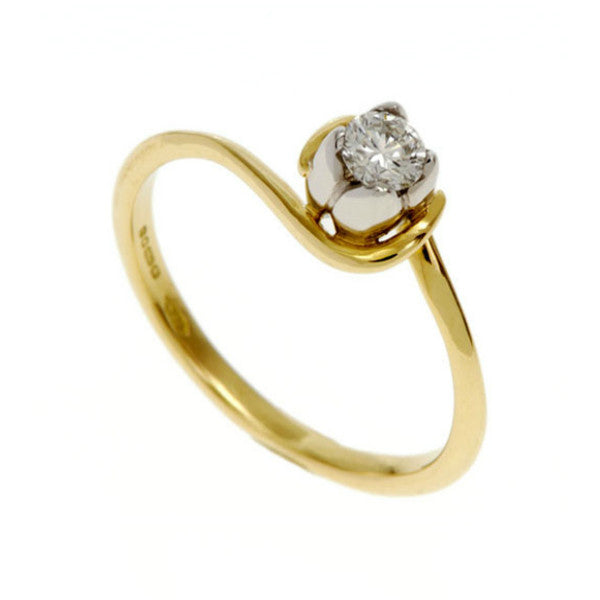 Tulip 18ct Yellow Gold Solitaire with .20pt Diamond