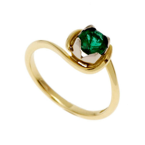 Tulip 18ct Yellow Gold Solitaire with .50pt Emerald