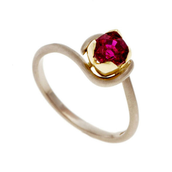 Tulip 18ct White Gold Yellow Gold Set 0.50pt Ruby Solitaire