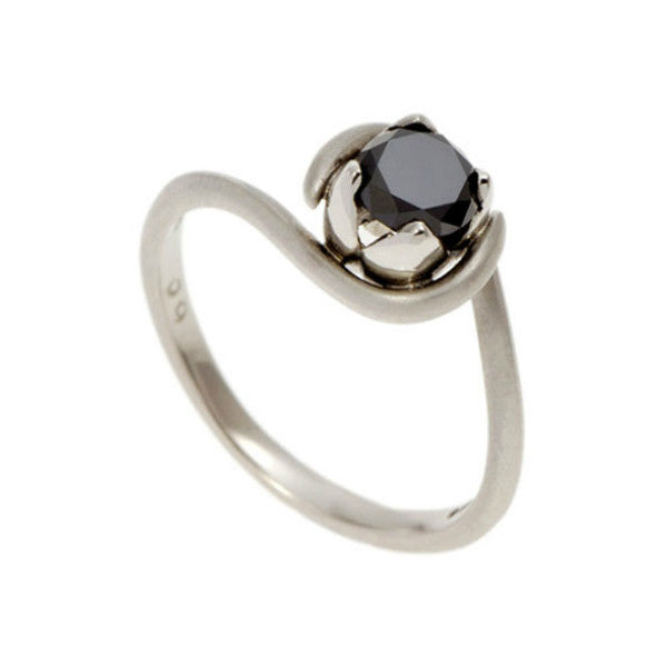 Tulip Platinum Solitaire with .75pt Black Diamond