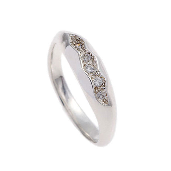 Triffid Silver Pavé Set White Cubic Zirconia Fine Ring