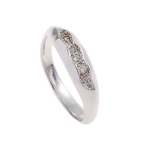 Triffid Silver Fine Ring with White Cubic Zirconia