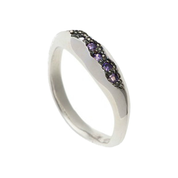 Triffid Silver Pavé Set Purple Cubic Zirconia Fine Ring