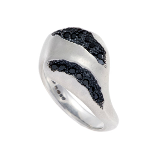 Triffid Silver Pavé Set Statement Ring With Black Cubic Zirconias