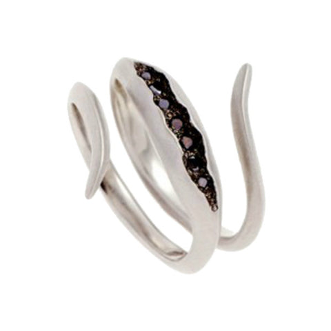 Triffid 18ct White Gold VR3 Coil Ring with Black Diamonds