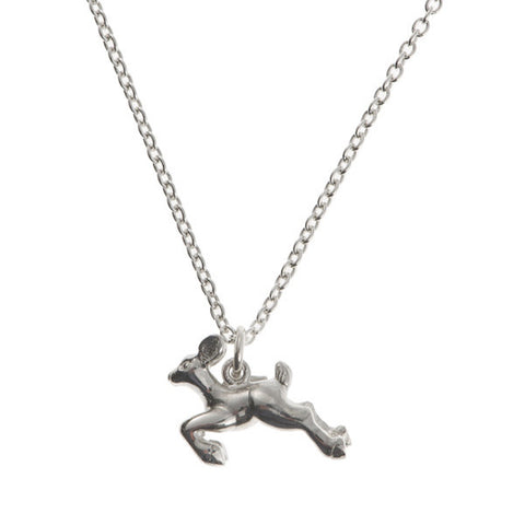 Woodland Creatures Silver Deer Charm Necklace