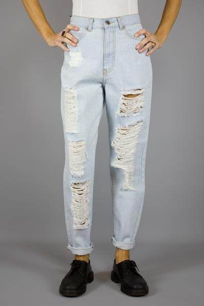 DR DENIM NORA SERIUS LIGHT RETRO RIPPED Way Side Shop PANTS WOMAN
