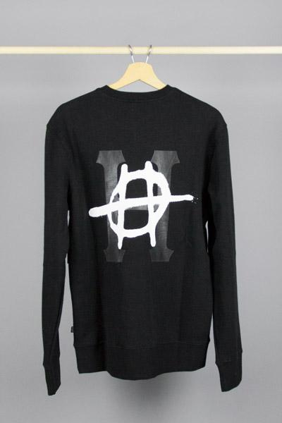 HUF, HUF RIOT CLASSIC H CREW BLACK, SWEATSHIRT, Way Side Shop