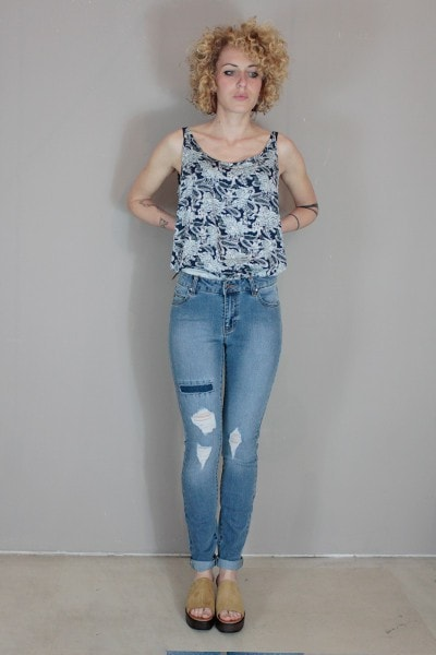 DR DENIM, REGINA MID BLUE RIPPED, PANTS WOMAN, Way Side Shop