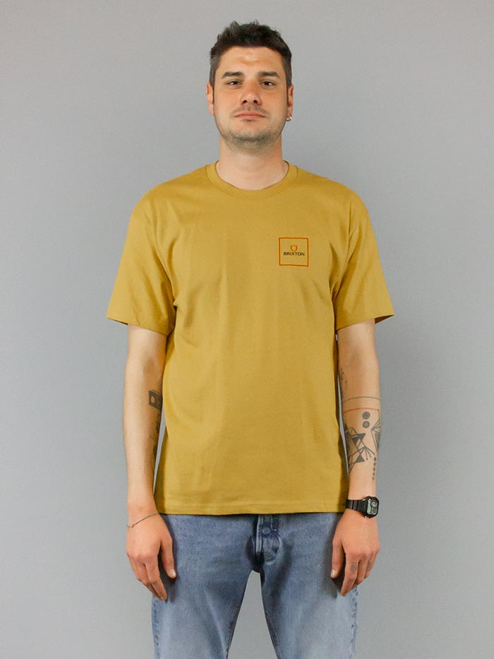 Brixton T-shirt Alpha Square Antique Gold