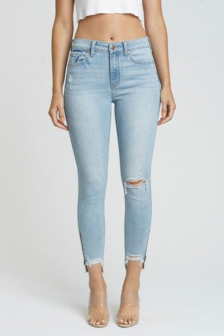 high waist distressed jeans with zipper ankles