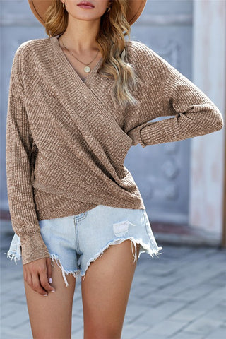ribbed knit criss cross top