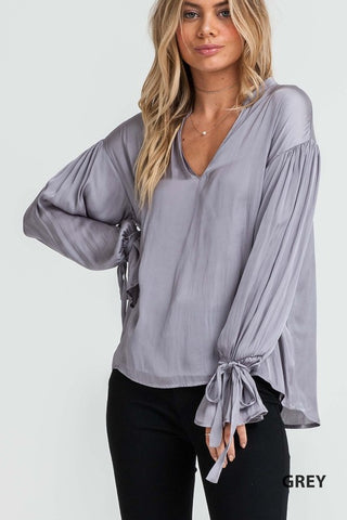Malina Grey Bell Sleeve Blouse