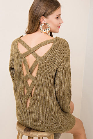 olive criss cross back sweater
