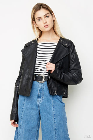 vegan leather jacket with zippers