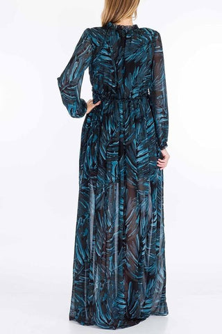 Babydoll Teal Tropics Long Sleeve Maxi Dress