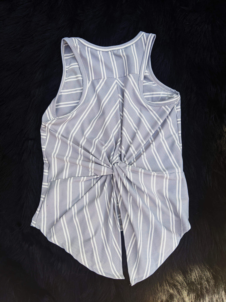 Grey Soft Striped Tank  with Back Knot