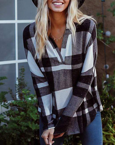Loose Fit Pullover Plaid Top