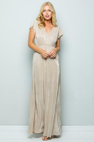 Metallic Pleated Maxi Dress in Gold