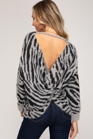 Soft Zebra Print Sweater