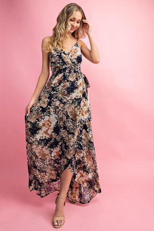 Chic Navy Floral Summertime Maxi