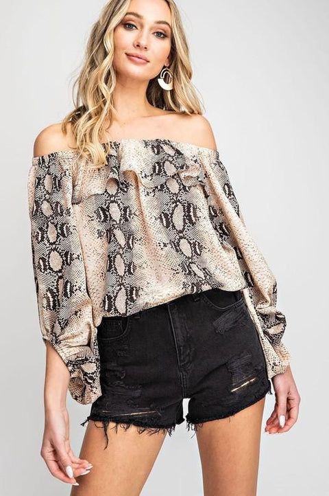 On or Off the Shoulder Snake Print Top