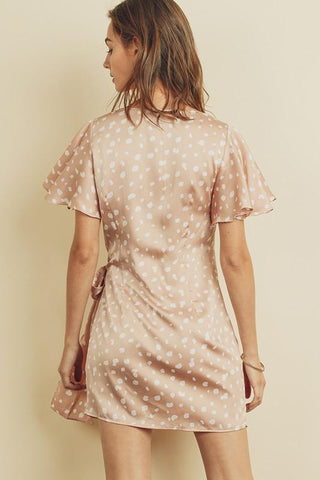 Blush Dot Print Satin Mini Dress