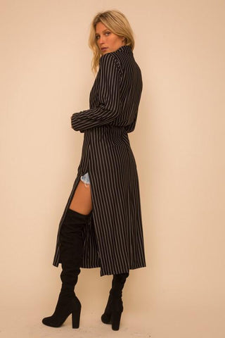 Pin Stripe Open Belted Jacket
