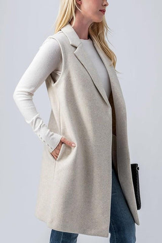 Sleek Long Felt Vest with Pockets
