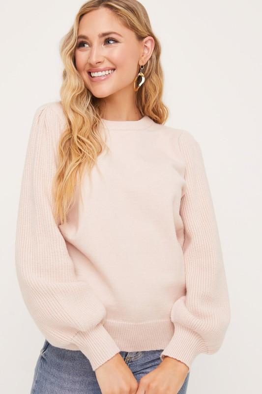 Soft Knit Blush Bell Sleeve Sweater