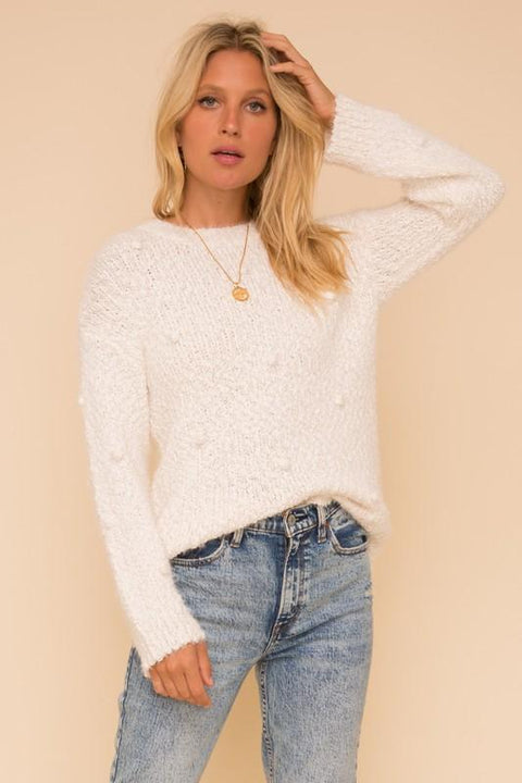 Soft Pom Pom Detail Knit Sweater
