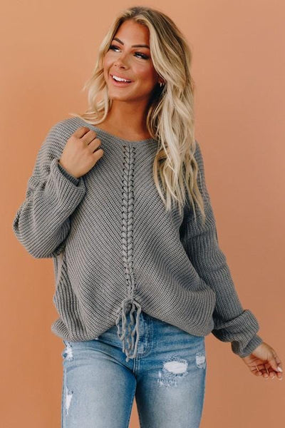 Laced Up Knit Sweater