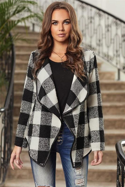 Plaid Open Cardigan Jacket