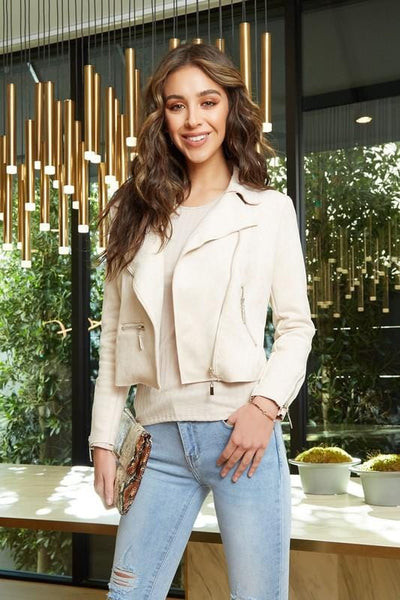 Soft Suede Cream Asymmetrical Moto Jacket