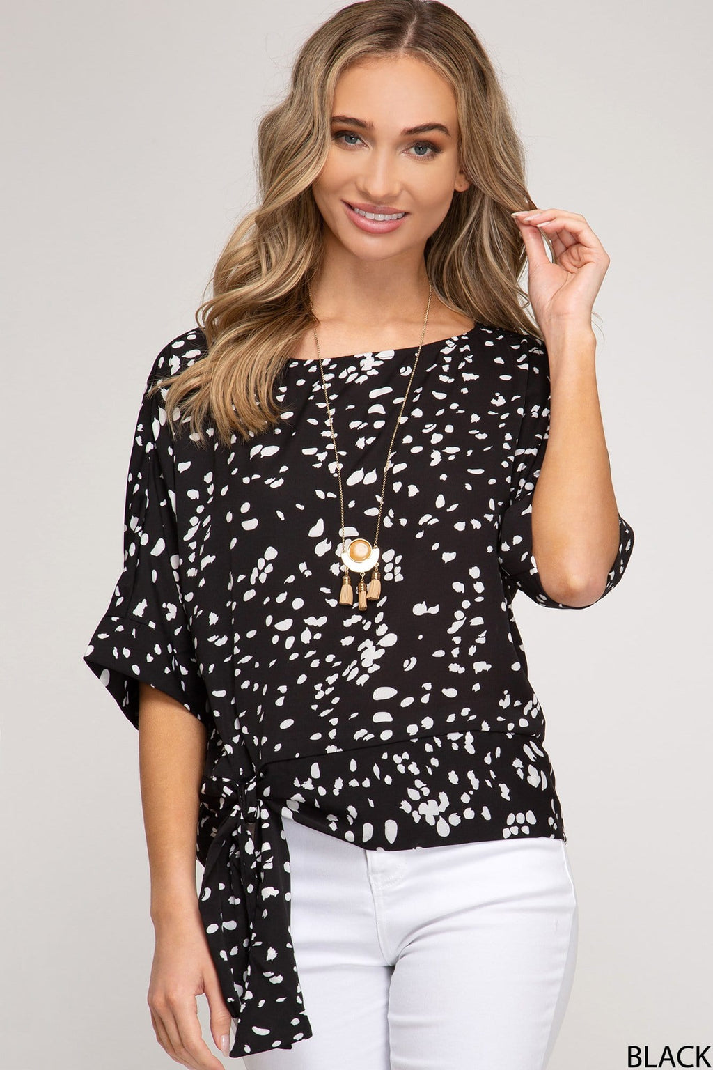 Batwing Sleeve Printed Side Tie Top