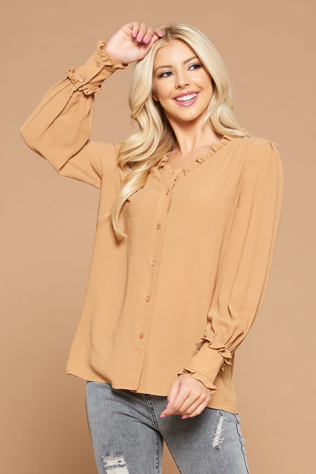 Button Down Blouse with Ruffled Cuffs