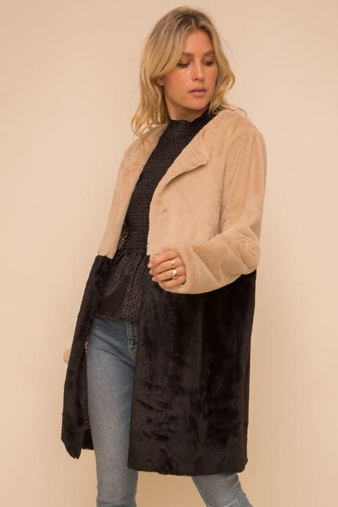 Chic Color Block Faux Fur Coat