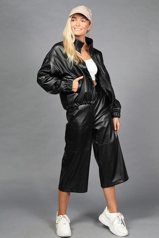 Chic Faux Leather Black Shiny Jacket