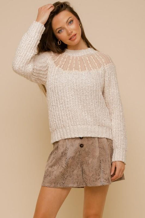 Cream Lace Trim Sweater