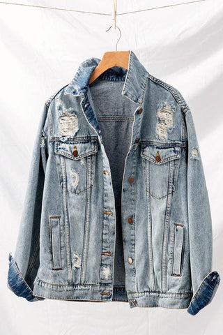 Distressed Button Down Jean Jacket